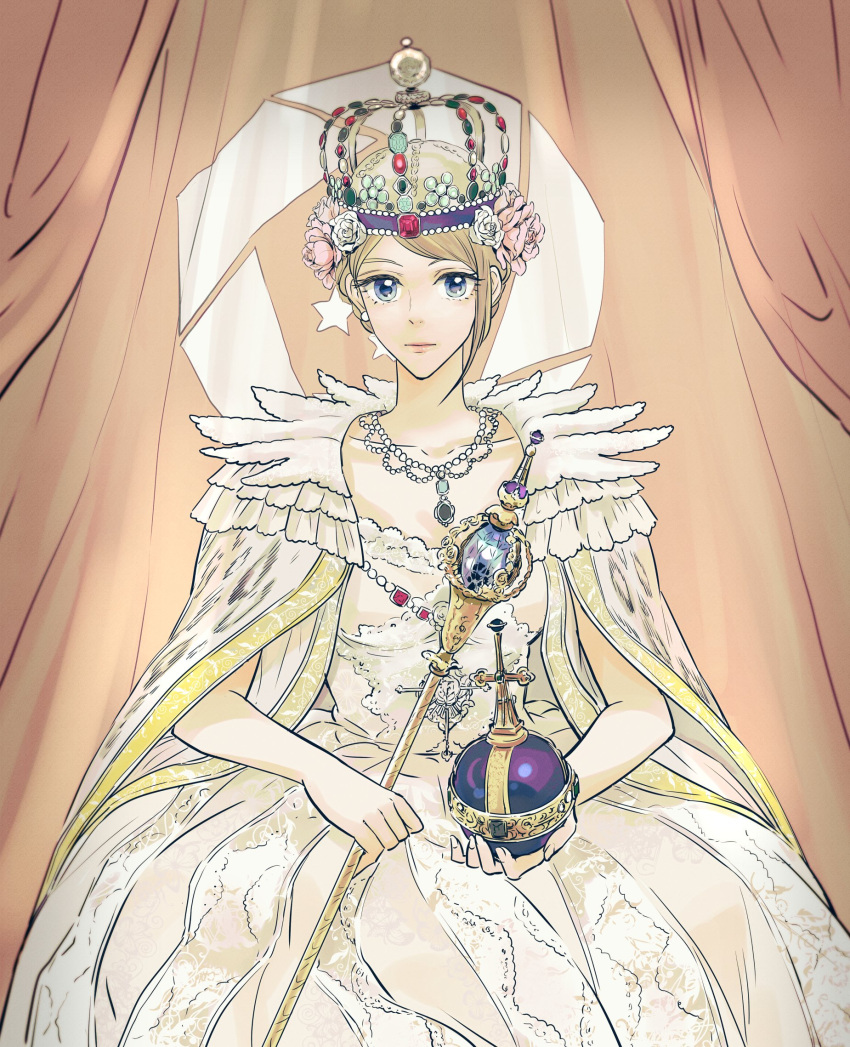 1girl ace_combat_7 asymmetrical_bangs bangs bare_arms blonde_hair blue_eyes braid cape closed_mouth collarbone crown crown_braid diamond_(gemstone) dress earrings embroidery eyelashes fingernails flag flag_background flower frills fur_cape gem globus_cruciger gold_trim gown hair_flower hair_ornament hands_on_lap highres holding holding_scepter jewelry lace long_hair looking_at_viewer necklace orb parted_bangs pearl_necklace princess rosa_cossette_d'elise royal ruby_(gemstone) sapphire_(gemstone) scepter sitting solo takato15_c white_dress