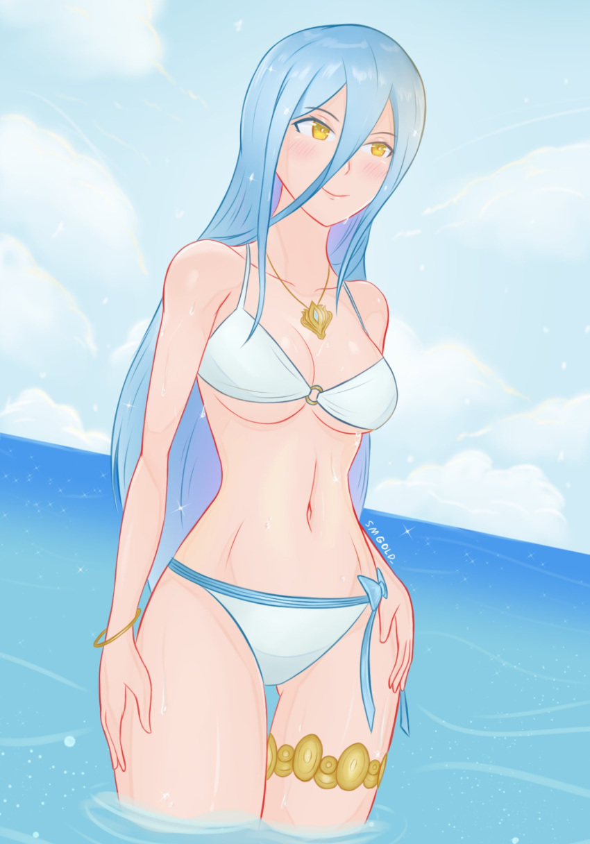 1girl aqua_(fire_emblem_if) aqua_hair azura_(fire_emblem) bikini blush bracelet collar cute fire_emblem fire_emblem_14 fire_emblem_fates fire_emblem_if hairband_removed intelligent_systems lagoon long_hair navel nintendo outdoors ribbon sexy smgold soaking_feet solo summer swimsuit water white_bikini yellow_eyes