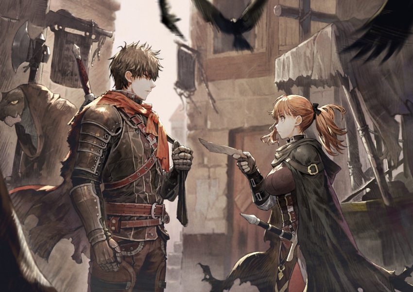 1girl 2boys animal armor axe belt belt_buckle bird black_cloak brown_cloak brown_gloves buckle city cloak closed_mouth fingerless_gloves flying gauntlets gloves highres holding holding_axe holding_paper holding_weapon hood hood_down hood_up jun_(seojh1029) lizardman long_hair looking_at_another multiple_boys orange_eyes orange_hair outdoors over_shoulder paper pauldrons ponytail red_eyes scabbard sheath sheathed sign stairs standing sword torn_cloak torn_clothes vambraces weapon weapon_on_back