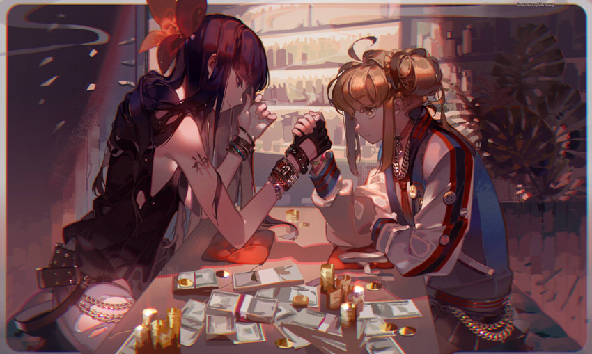 2girls ahoge arm_tattoo arm_wrestling badge bangs bare_shoulders belt between_fingers black_gloves black_hair black_skirt blonde_hair blunt_bangs border bottle bracelet bracer butterfly_hair_ornament button_badge chain chain_necklace choker cigarette closed_mouth coin commentary_request cushion cutout_gloves elbows_on_table eyelashes flat_chest from_side gloves gold hair_flowing_over hair_ornament hair_scrunchie holding holding_cigarette holding_hands indoors jacket jewelry kawacy long_hair long_sleeves looking_at_another miniskirt money multiple_girls nail_polish necklace necktie o-ring outside_border palm_leaf pants pink_nails pipimi plant pleated_skirt poptepipic popuko potted_plant profile purple_hair red_neckwear rounded_corners scrunchie side_bun sidelocks sitting skirt sleeveless smile smiley_face smoke table tattoo track_jacket white_pants yellow_eyes yellow_scrunchie