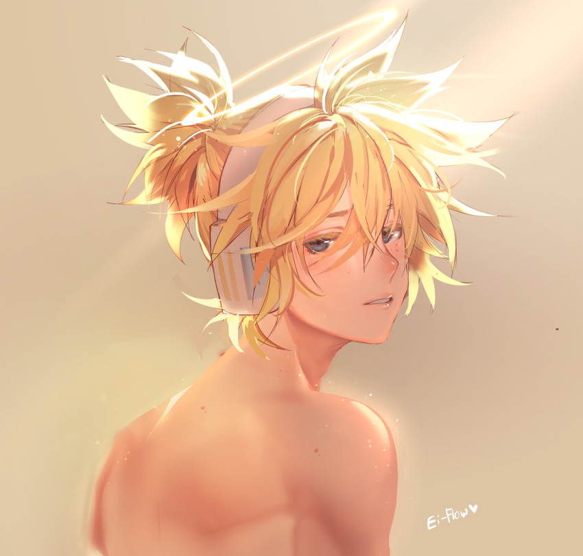 1boy artist_name blonde_hair blue_eyes blush commentary ei_flow english_commentary from_behind half-closed_eyes halo headphones heart highres kagamine_len light_blush looking_at_viewer looking_back male_focus nose_blush parted_lips shirtless short_ponytail sidelighting spiky_hair upper_body vocaloid yellow_background