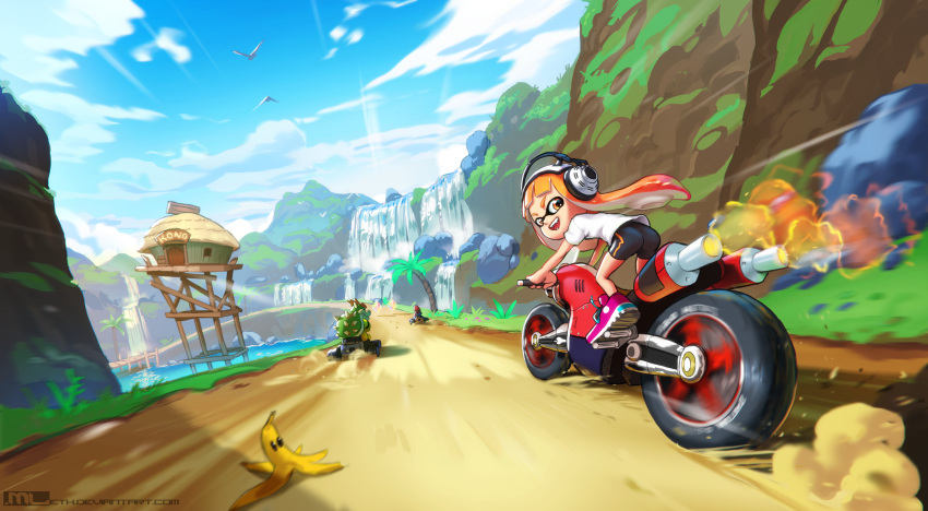 1girl 2boys artist_name ass banana_peel bike_shorts bird blue_sky bowser commentary crossover driving english_commentary exhaust_pipe fangs go_kart ground_vehicle headphones highres inkling looking_at_viewer looking_back mario mario_(series) mario_kart mathias_leth motion_blur motor_vehicle motorcycle mountain multiple_boys open_mouth orange_eyes orange_hair palm_tree racing riding road shoes short_shorts shorts sky sneakers speed_lines spiked_shell splatoon_(series) tentacle_hair tree water waterfall watermark web_address