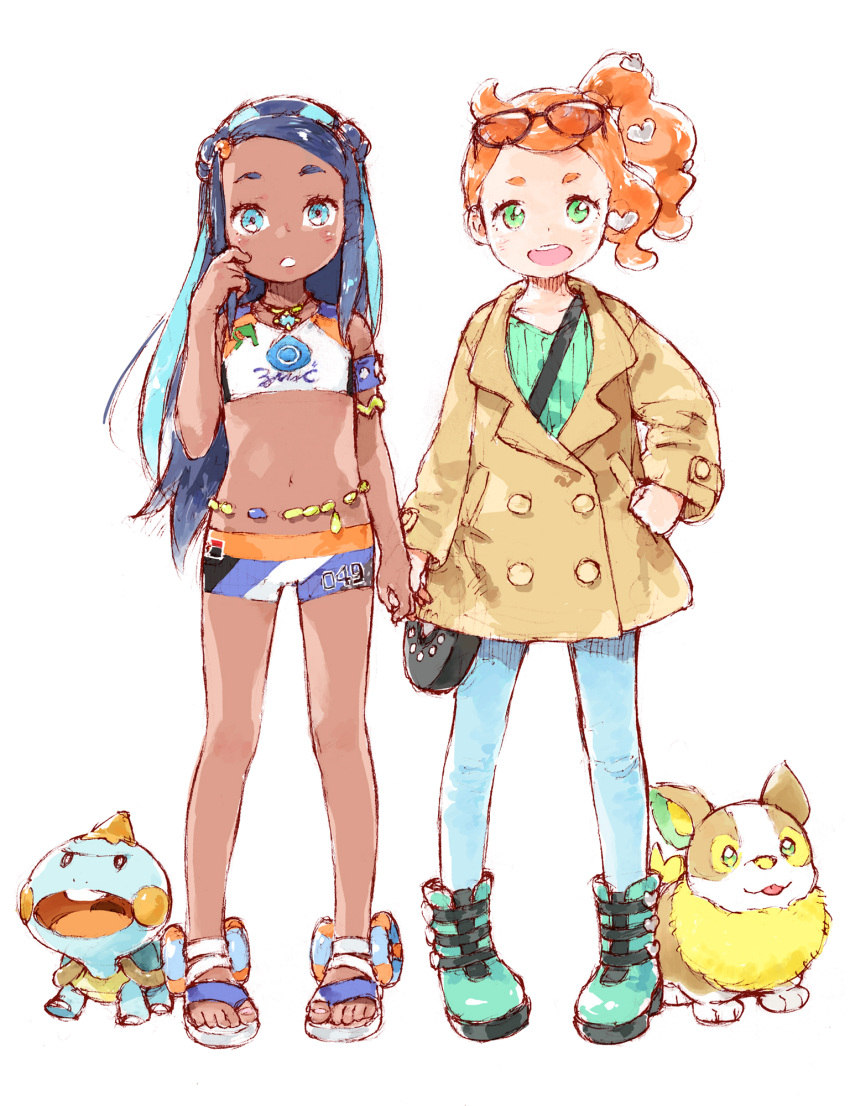 2girls aqua_hair armband armlet bag barasui between_breasts blue_eyes blue_hair boots breasts chewtle crop_top dark_skin denim eyewear_on_head green_eyes green_footwear handbag heart highres holding_hands jeans jewelry long_hair midriff multicolored_hair multiple_girls navel necklace open_mouth orange_hair pants pokemon pokemon_(game) pokemon_swsh rurina_(pokemon) sandals scratching_cheek shorts side_ponytail sonia_(pokemon) sportswear strap_between_breasts trench_coat two-tone_hair white_background yamper younger