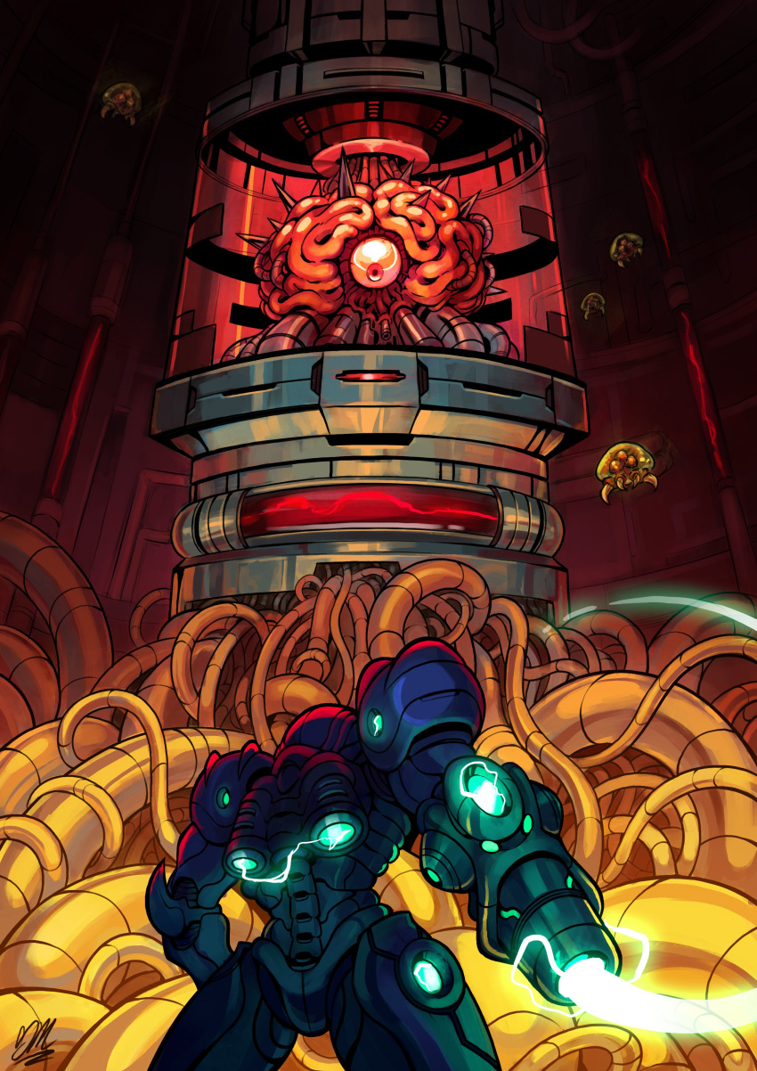 1girl absurdres alien arm_cannon back cable electricity floating from_behind glowing gregzilla highres horns jetpack metroid metroid_(creature) monster mother_brain power_armor samus_aran single_eye standing tank_(container) varia_suit weapon wire