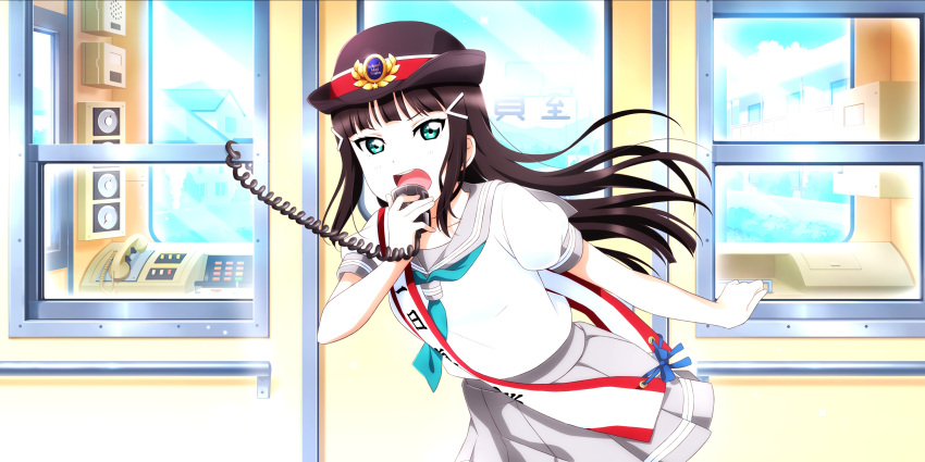 black_hair blush green_eyes kurosawa_dia long_hair love_live!_school_idol_festival_all_stars seifuku