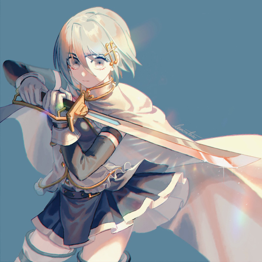 1girl artist_name belt blue_background blue_eyes blue_hair blue_skirt blue_theme cape closed_mouth clothes_lift cowboy_shot detached_sleeves expressionless eyebrows_visible_through_hair eyelashes fighting_stance floating_hair fortissimo fortissimo_hair_ornament frills gloves glowing glowing_sword glowing_weapon hair_ornament hairclip highres holding holding_sword holding_weapon lemontea light_particles looking_at_viewer mahou_shoujo_madoka_magica miki_sayaka musical_note musical_note_hair_ornament pale_skin pleated_skirt shaded_face short_hair simple_background skirt solo soul_gem sparkle sunlight sword thigh-highs weapon white_cape white_gloves white_legwear zettai_ryouiki