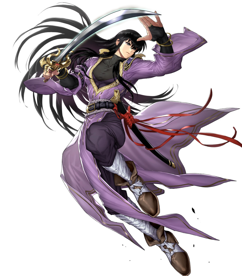 1boy bandages belt black_eyes black_hair boots bracelet fingerless_gloves fire_emblem fire_emblem:_genealogy_of_the_holy_war fire_emblem_heroes full_body gloves highres jewelry long_hair official_art okuma_yuugo shannan_(fire_emblem) solo sword transparent_background weapon
