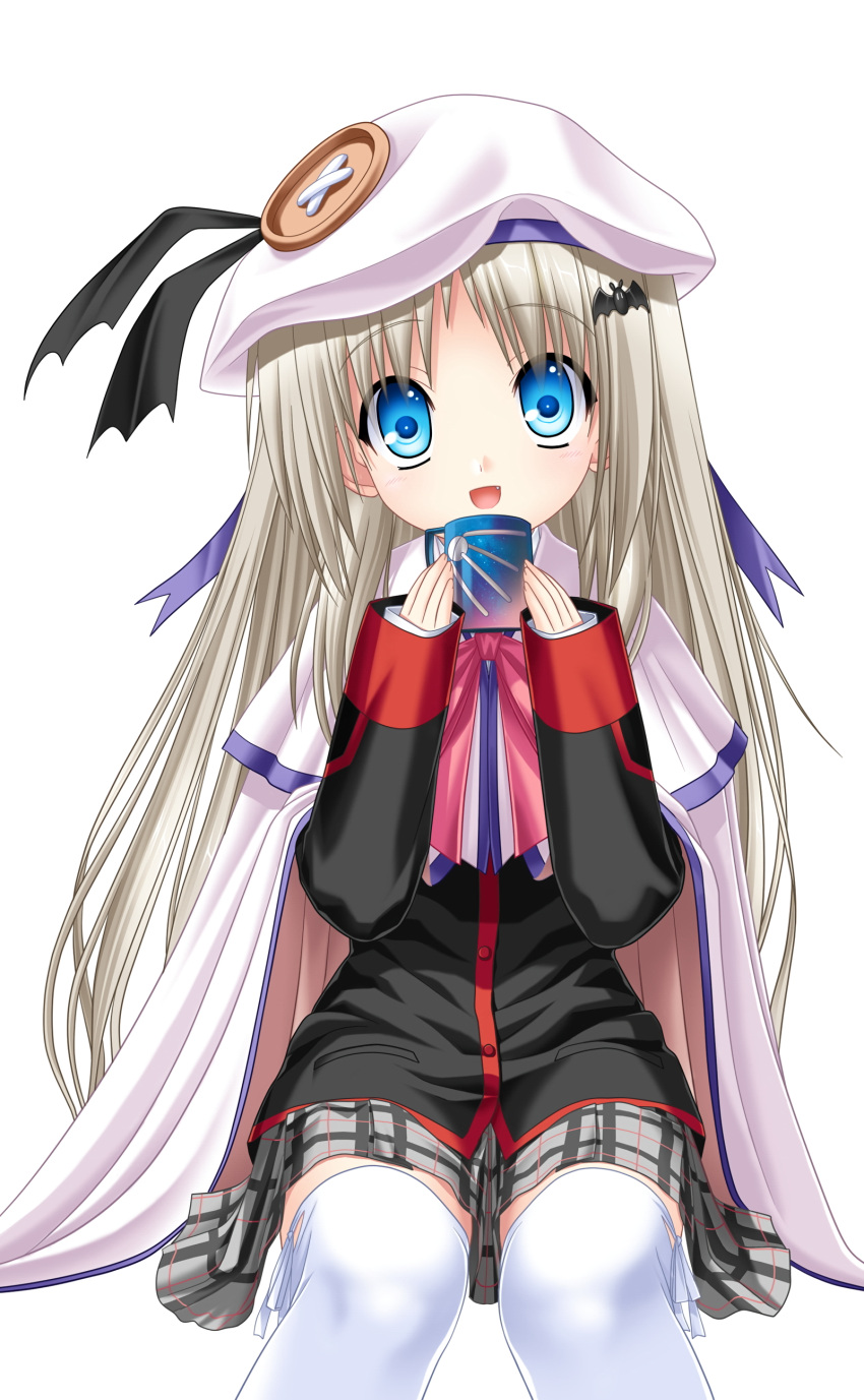 1girl :d absurdres bangs black_jacket black_ribbon blue_eyes cape capelet cup eyebrows_visible_through_hair grey_skirt hat hat_ribbon head_tilt highres holding holding_cup invisible_chair jacket kud_wafter little_busters! long_hair long_sleeves looking_at_viewer miniskirt na-ga noumi_kudryavka official_art open_mouth pink_neckwear plaid plaid_skirt pleated_skirt purple_ribbon ribbon school_uniform silver_hair simple_background sitting skirt smile solo thigh-highs very_long_hair white_background white_cape white_capelet white_headwear white_legwear zettai_ryouiki