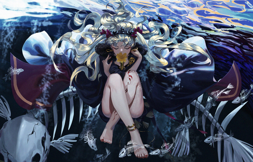 1girl anklet artist_request bangs black_cape blonde_hair cape chain chinese_commentary closed_eyes commentary_request covered_mouth crack dark earrings ereshkigal_(fate/grand_order) fate/grand_order fate_(series) fingernails fish_bone fish_skeleton floating floating_hair floating_object flower full_body fur-trimmed_cape fur_trim gold_chain gold_trim hair_ribbon hair_spread_out hoop_earrings infinity jewelry knees_to_chest leg_tattoo long_fingernails long_hair multicolored multicolored_cape multicolored_clothes nail_polish parted_bangs partial_commentary red_cape red_nails red_ribbon ribbon self_hug sitting skull solo spine submerged tassel tattoo tiara toenail_polish two-tone_cape two_side_up underwater very_long_hair yellow_flower