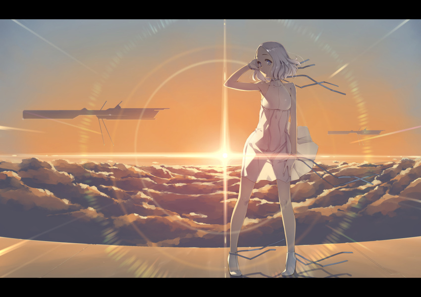 1girl aircraft ankle_boots arm_up armpits backlighting blue_eyes boots bright_pupils closed_eyes clouds collarbone commentary_request dress forehead full_body gahaku gradient_sky hand_in_hair highres legs_apart lens_flare looking_at_viewer original outdoors see-through_silhouette short_hair silver_hair sky sleeveless sleeveless_dress solo standing sun sunlight white_dress white_footwear wristband