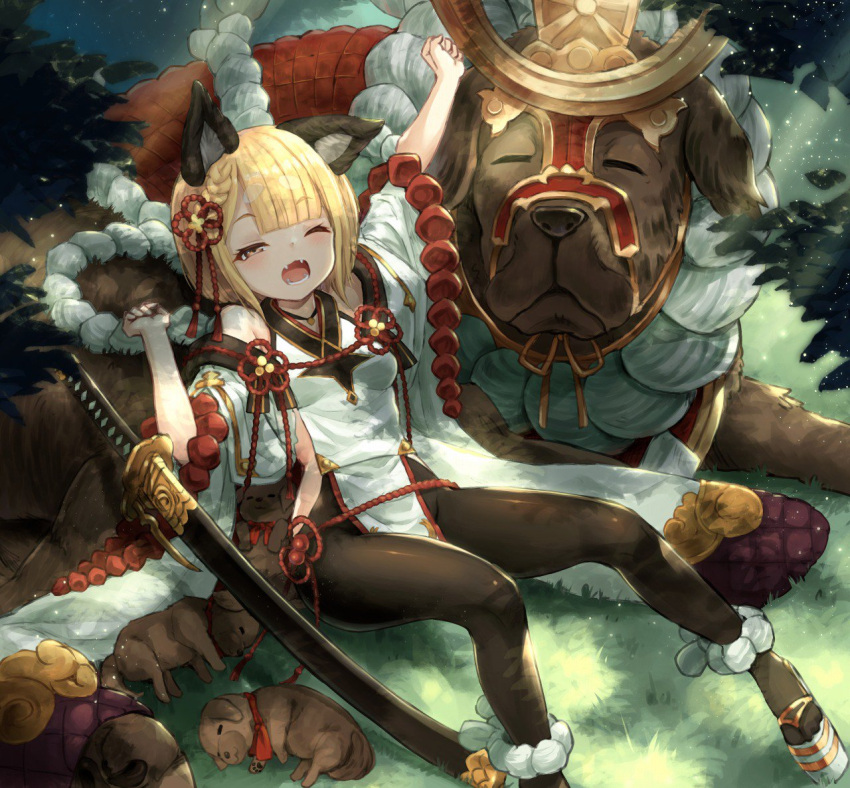 animal_ears arm_up bangs black_legwear blonde_hair bow breasts brown_eyes commentary day dog dog_ears eyebrows_visible_through_hair fangs flower furisode fuyu_no_kareha granblue_fantasy grass hair_flower hair_ornament japanese_clothes katana kimono light_particles looking_at_viewer medium_hair one_eye_closed open_mouth outdoors outstretched_arm pantyhose petite puppy red_bow rope shimenawa short_eyebrows sitting sleeping small_breasts stretch sword tree tree_branch tree_shade vajra_(granblue_fantasy) weapon yawning