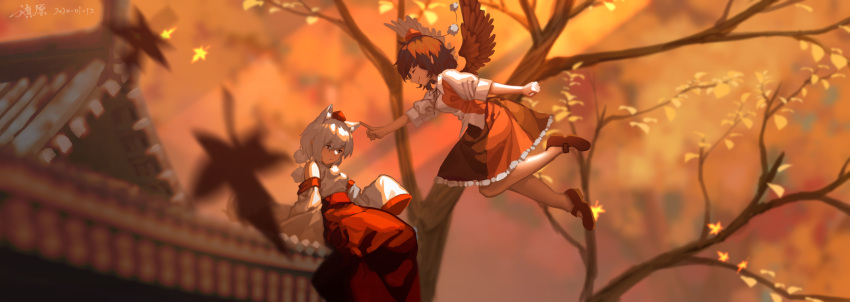 2girls architecture arm_up arms_behind_back autumn autumn_leaves bird_wings black_hair black_skirt blurry blurry_background blurry_foreground chinese_commentary clenched_hand closed_eyes commentary_request depth_of_field detached_sleeves east_asian_architecture expressionless feathered_wings feet_out_of_frame floating folded_leg frilled_skirt frills furahata_gen hakama_skirt hand_on_another's_ear hat highres inubashiri_momiji leaf looking_down maple_leaf mary_janes multiple_girls on_roof outstretched_hand pom_pom_(clothes) puffy_short_sleeves puffy_sleeves reclining red_eyes red_footwear red_headwear shameimaru_aya shirt shoes short_hair short_sleeves sitting skirt sleeves_past_fingers sleeves_past_wrists smile tokin_hat touhou tree white_hair white_shirt wings