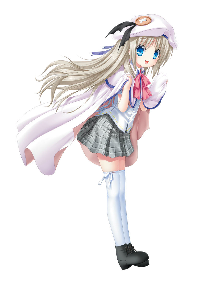 1girl :d bangs black_footwear blue_eyes cape capelet dress_shirt eyebrows_visible_through_hair floating_hair from_side full_body grey_skirt hat hat_ribbon highres kud_wafter little_busters! long_hair looking_at_viewer miniskirt na-ga noumi_kudryavka official_art open_mouth pink_neckwear plaid plaid_skirt pleated_skirt purple_ribbon ribbon school_uniform shirt silver_hair simple_background skirt smile solo thigh-highs very_long_hair white_background white_cape white_capelet white_headwear white_legwear white_ribbon white_shirt zettai_ryouiki