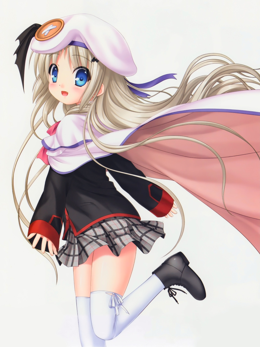 1girl :d absurdres bangs black_jacket blonde_hair blue_eyes blush cape capelet eyebrows_visible_through_hair fang floating_hair from_side grey_skirt hat hat_ribbon highres jacket kud_wafter little_busters! long_hair long_sleeves miniskirt na-ga noumi_kudryavka official_art open_mouth pink_neckwear plaid plaid_skirt pleated_skirt purple_ribbon ribbon school_uniform shiny shiny_hair simple_background skirt smile solo standing standing_on_one_leg thigh-highs very_long_hair white_background white_cape white_capelet white_headwear white_legwear zettai_ryouiki