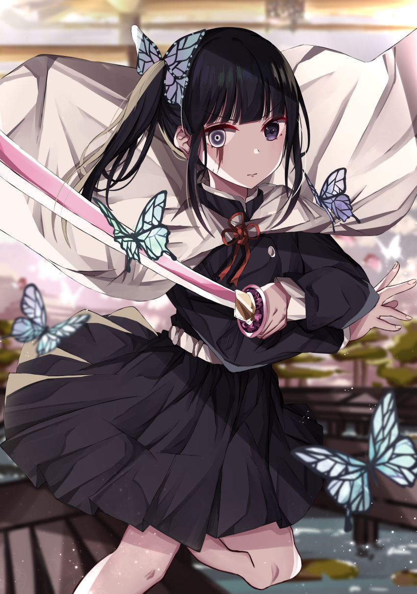 1girl absurdres animal bangs belt black_hair black_jacket black_skirt blurry blurry_background blurry_foreground bug butterfly butterfly_hair_ornament cape closed_mouth commentary_request depth_of_field eyebrows_visible_through_hair hair_ornament highres holding holding_sword holding_weapon insect jacket katana kimetsu_no_yaiba long_hair long_sleeves looking_at_viewer norazura pleated_skirt side_ponytail skirt solo standing standing_on_one_leg sword tsuyuri_kanao v-shaped_eyebrows violet_eyes weapon white_belt white_cape