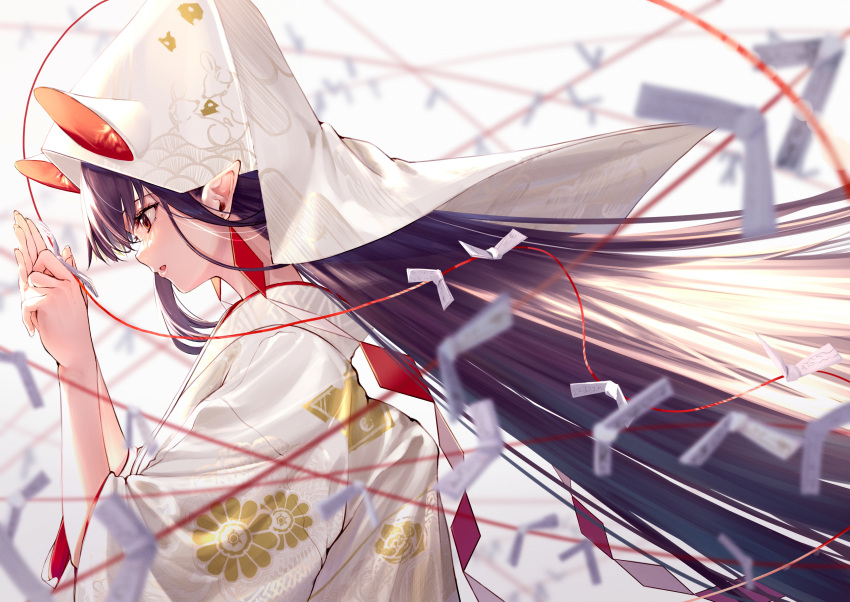 1girl absurdres black_hair brown_eyes chinese_zodiac ear_piercing from_side highres japanese_clothes kimono long_hair looking_down open_mouth original piercing pointy_ears solo takubon upper_body year_of_the_rat