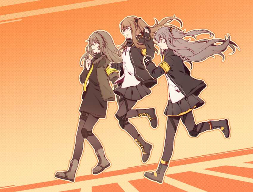 3girls armband artist_request boots brown_hair chinese_commentary commentary_request fingerless_gloves girls_frontline gloves grey_hair highres hood hooded_jacket jacket multiple_girls pantyhose siblings side_ponytail sisters skirt twintails ump40_(girls_frontline) ump45_(girls_frontline) ump9_(girls_frontline)