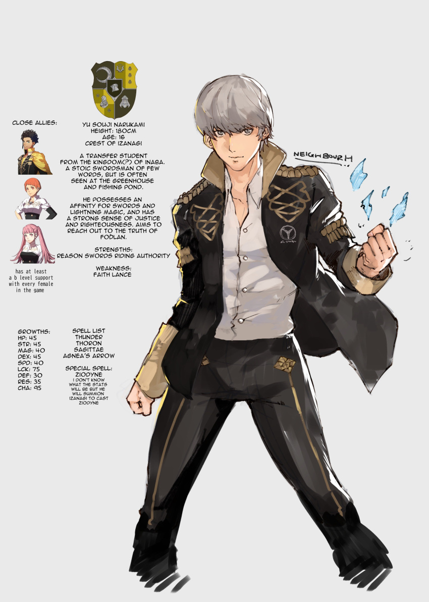 absurdres adapted_uniform character_profile claude_von_riegan clenched_hands cowboy_shot emblem english_commentary english_text fire_emblem fire_emblem:_three_houses garreg_mach_monastery_uniform grey_hair highres hilda_valentine_goneril jacket leonie_pinelli narukami_yuu persona persona_4 signature simple_background yrfreakyneighbr