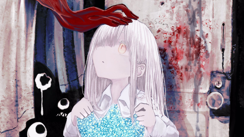 1girl bangs blood blood_on_wall blue_flower blunt_bangs crying curtains flower glowing glowing_flower hair_over_one_eye highres long_hair nurie7 original pale_skin parted_lips petting red_skin sharp_teeth slit_pupils tears teeth white_curtains white_hair yellow_eyes