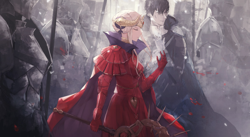 1girl armor armored_dress axe black_hair cape closed_eyes closed_mouth dress edelgard_von_hresvelg fire_emblem fire_emblem:_three_houses gloves highres holding holding_axe horns hubert_von_vestra long_sleeves multiple_boys outdoors red_cape red_dress red_gloves short_hair_with_long_locks sidelocks silver_hair smile thkani