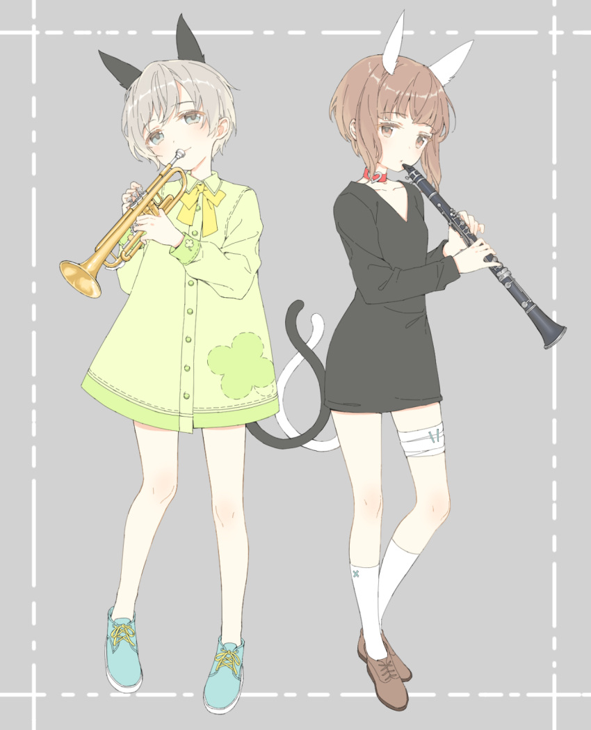 2girls alternate_costume animal_ears bandaged_leg bandages bangs blush brown_hair choker closed_mouth dress eyebrows_visible_through_hair full_body green_dress grey_background highres holding holding_instrument instrument kantai_collection long_sleeves multiple_girls music playing_instrument shiosoda short_hair silver_hair smile socks standing tail v-neck white_legwear z1_leberecht_maass_(kantai_collection) z3_max_schultz_(kantai_collection)