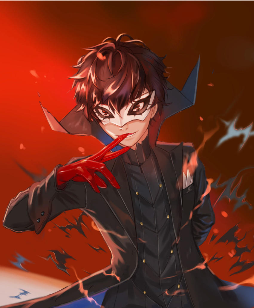 1boy adjusting_clothes adjusting_gloves amamiya_ren black_hair brown_eyes gloves gradient gradient_background hand_up highres long_sleeves looking_at_viewer male_focus mask mouth_hold natsue_lxa persona persona_5 pocket popped_collar red_eyes red_gloves short_hair simple_background smile solo standing upper_body