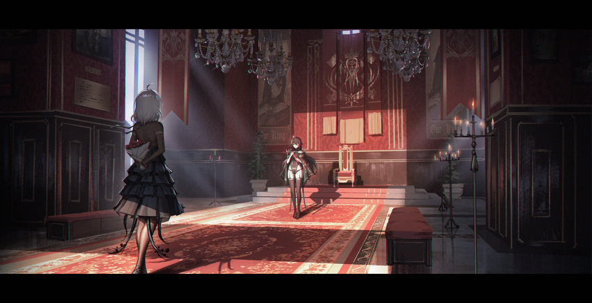 2girls ahoge banner black_dress black_hair black_legwear bouquet candle candlestand carpet chandelier chinese_commentary commentary_request dress flower from_behind garter_straps indoors leotard letterboxed light_rays long_hair multiple_girls original pantyhose scenery short_hair standing thigh-highs throne throne_room white_hair wide_shot yurichtofen