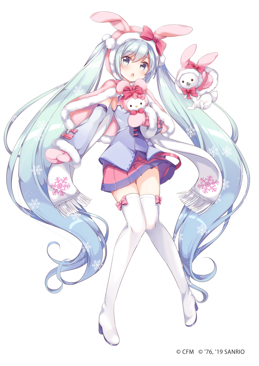 1girl :o aqua_eyes aqua_hair armpits bangs blush boots bow bowtie capelet commentary_request copyright crossover crypton_future_media detached_sleeves eyebrows_visible_through_hair fur-trimmed_capelet fur_trim gloves gomano_rio hatsune_miku hello_kitty hello_kitty_(character) highres hood long_hair looking_at_viewer necktie official_art open_mouth pink_capelet pink_skirt pleated_skirt promotional_art rabbit rabbit_yukine scarf shirt simple_background skirt sleeveless sleeveless_shirt snowflake_print snowflakes solo_focus thigh-highs thigh_boots twintails very_long_hair vocaloid white_background white_scarf winter_gloves yuki_miku zettai_ryouiki