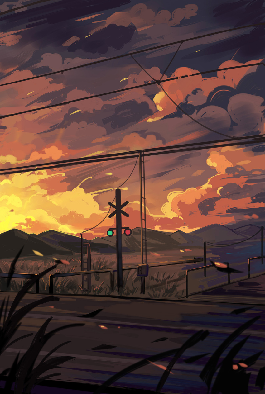 clouds cloudy_sky commentary_request grass highres leilin mountain no_humans original outdoors power_lines railroad_crossing road scenery sky sunset window