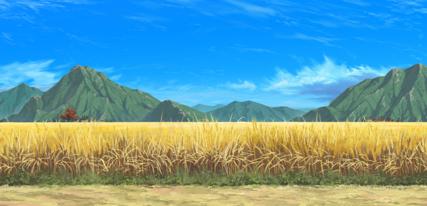 blue_sky building clouds day dirt field highres landscape megalobilly mountain mountainous_horizon no_humans original outdoors path scenery sky tree wheat wheat_field