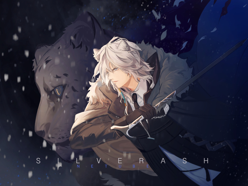 1boy animal_ears arknights artist_name black_coat black_neckwear cape character_name dark_background fighting_stance grey_eyes highres holding_cane long_sleeves male_focus necktie neontube_(netube) silverash_(arknights) snowing standing sword_cane white_hair