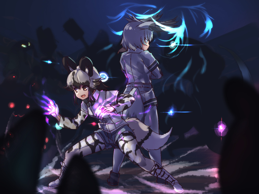 2girls african_wild_dog_(kemono_friends) african_wild_dog_print animal_ears animal_print aqua_eyes aura back-to-back bangs belt bird_tail bird_wings black_gloves black_hair bodystocking boots bow bowtie brown_eyes closed_mouth collared_shirt cross-laced_footwear crossed_arms dog_ears dog_tail eyebrows_visible_through_hair fighting_stance full_body gloves glowing glowing_eyes grey_hair grey_shirt grey_shorts hand_on_own_arm head_wings kemono_friends lace-up_boots leaning_forward long_sleeves looking_at_another medium_hair monster multicolored_hair multiple_girls open_mouth shirt shoebill_(kemono_friends) short_over_long_sleeves short_sleeves shorts silhouette smile standing tadano_magu tail tail_through_clothes two-tone_hair v-shaped_eyebrows wing_collar wings