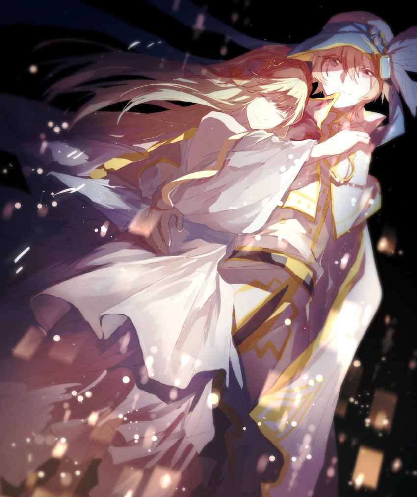 absurdres aria_(maplestory) black_background blue_headwear cape couple from_below highres hug long_hair maplestory phantom_(maplestory) silver_hair smile white_cape