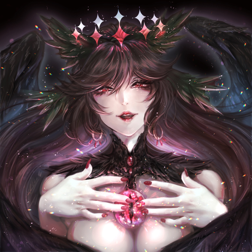 1girl absurdres animal_ears bangs black_wings breasts brown_hair earrings fingernails gem hair_between_eyes half-closed_eyes halo highres huge_filesize jewelry kyogoku-uru light_particles long_fingernails long_hair looking_at_viewer nail_polish red_eyes red_lips red_nails reiuji_utsuho smile solo third_eye touhou upper_body wing_censor wings