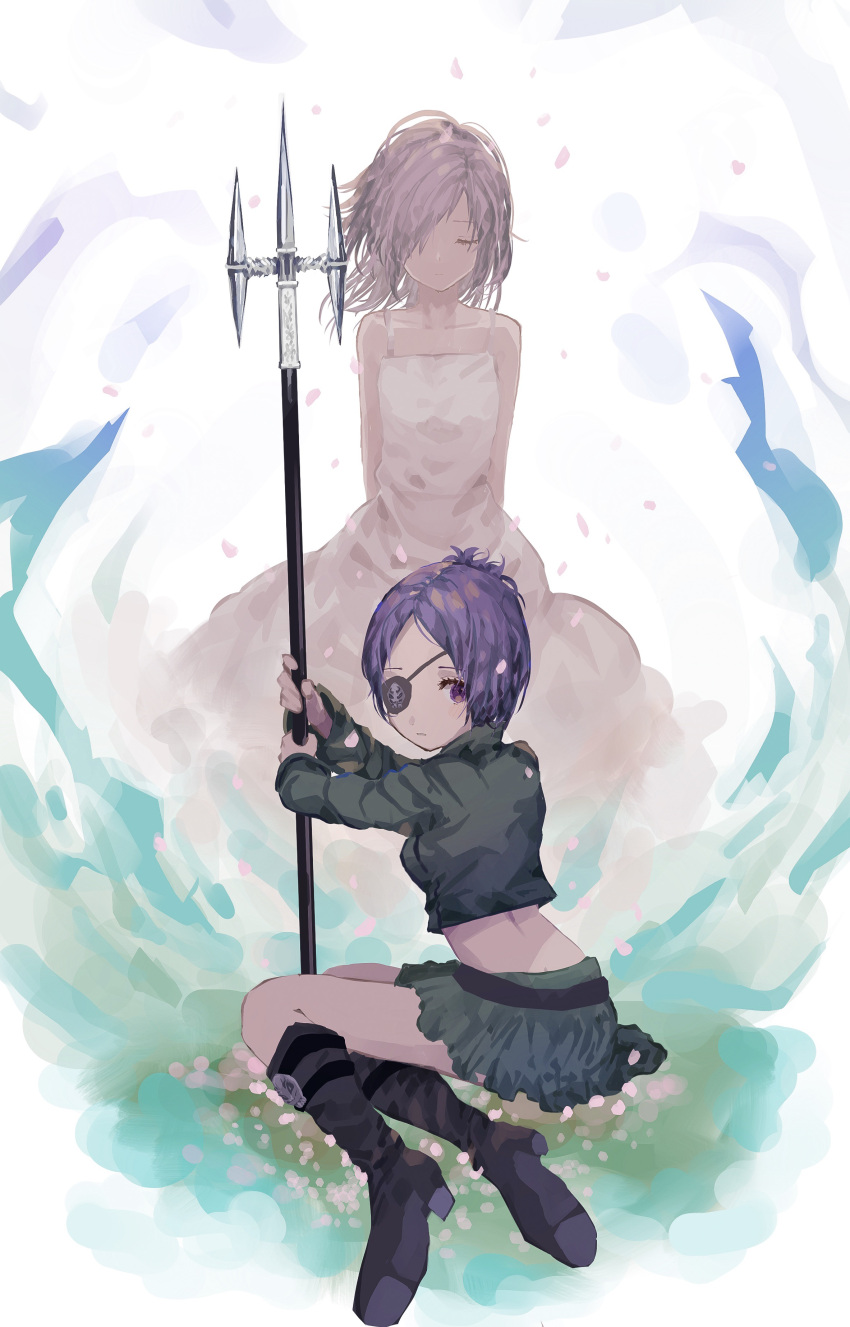 1girl absurdres breasts chrome_dokuro closed_mouth commentary_request dress dual_persona eyepatch highres katekyo_hitman_reborn looking_at_viewer midriff polearm purple_hair short_hair skirt solo violet_eyes weapon