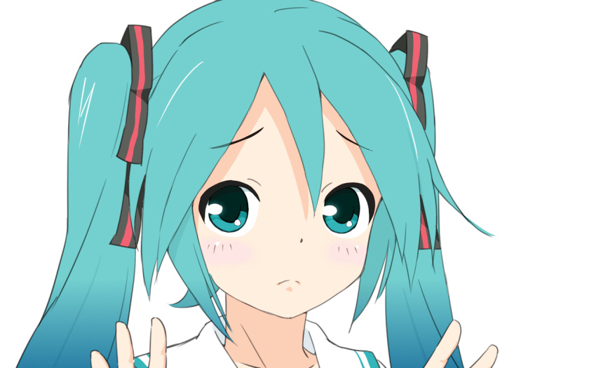 1girl animated animated_gif aqua_eyes aqua_hair black_ribbon blush collar collared_shirt commentary frown furrowed_eyebrows hair_ribbon hands_up hatsune_miku long_hair outstretched_hand portrait ribbon shirt solo soukun_s striped striped_ribbon twintails very_long_hair vocaloid vocaloid_(lat-type_ver) white_collar white_shirt