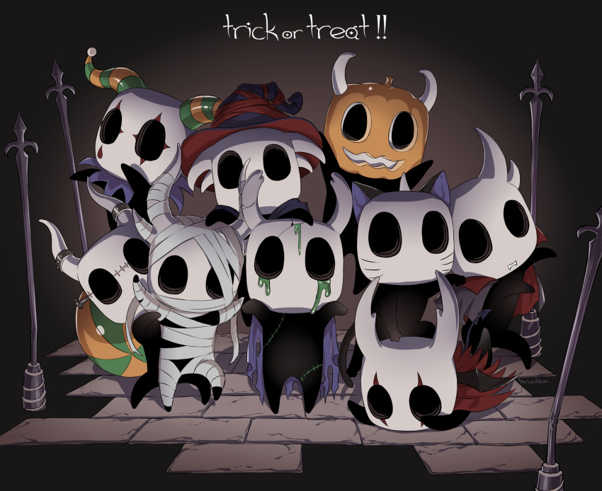 animal_ears arizuka_(catacombe) bandaged_arm bandaged_leg bandages black_headwear bug cape cat_ears cloak commentary_request cosplay fangs grimm_(hollow_knight) grimm_(hollow_knight)_(cosplay) halloween hat highres holding hollow_knight horns knight_(hollow_knight) pumpkin red_cape red_headwear slime torn_cape torn_clothes trick_or_treat witch_hat