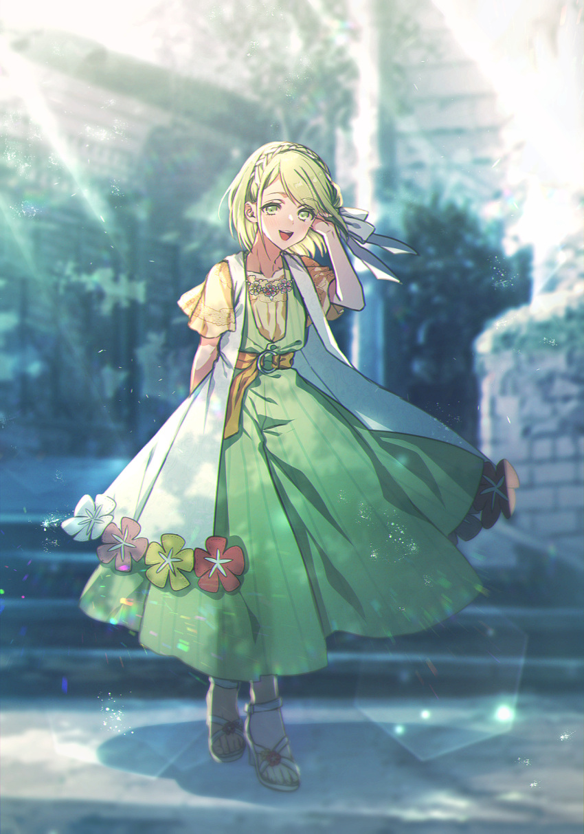1girl :d blurry blurry_background bow braid comfey day dress dress_flower green_dress green_hair hair_bow hands_up highres moe_(hamhamham) o-ring open_mouth personification pokemon sandals short_hair short_sleeves smile solo standing sunlight white_bow