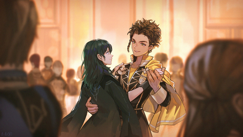 1boy 1girl alzi_xiaomi blurry braid brown_hair byleth_(fire_emblem) byleth_(fire_emblem)_(female) cape claude_von_riegan couple dancing dark_skin dark_skinned_male depth_of_field earrings eye_contact faceless fire_emblem fire_emblem:_three_houses gloves green_hair hand_on_another's_back hand_on_another's_shoulder hetero highres holding_hands indoors jewelry long_hair long_sleeves looking_at_another profile side_braid single_braid smile yellow_cape