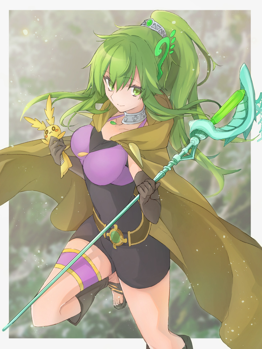 1girl bangs belt bike_shorts blurry blurry_background bodysuit border breasts brown_cloak brown_gloves cloak collar commentary_request covered_navel duel_monster elbow_gloves eyebrows_visible_through_hair gloves green_eyes green_hair grey_border hair_ornament highres holding holding_staff holding_stuffed_animal jewelry large_breasts leg_warmers long_hair looking_at_viewer necklace ponytail sandals smile solo spiritual_beast_tamer_winda staff standing standing_on_one_leg stuffed_animal stuffed_bunny stuffed_toy thigh_strap tsumayouji_(dekosoko) yuu-gi-ou