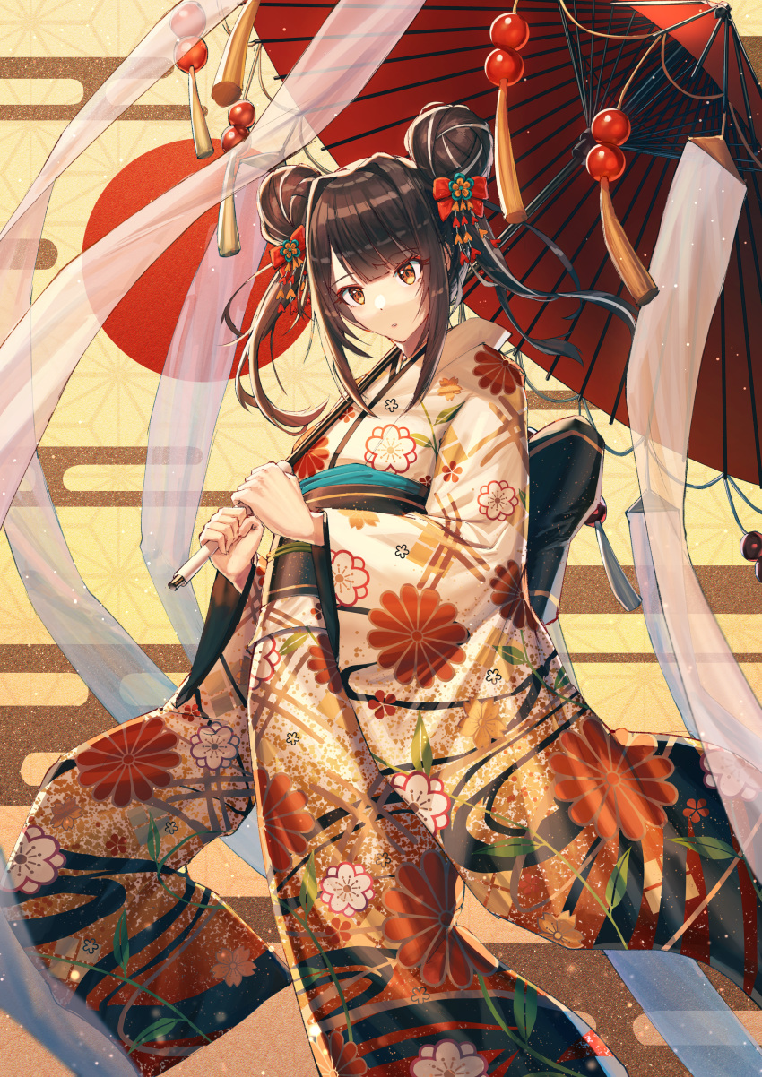 1girl absurdres asa_no_ha_(pattern) bangs bow brown_hair commentary_request double_bun egasumi feet_out_of_frame floral_print furisode hair_bow hair_ornament highlights highres holding holding_umbrella huge_filesize japanese_clothes kanzashi kimono long_hair long_sleeves looking_at_viewer mazeru_(oekaki1210) multicolored_hair new_year obi oriental_umbrella original parted_lips red_bow red_sun sash see-through solo standing streaked_hair streamers tassel twintails umbrella white_hair