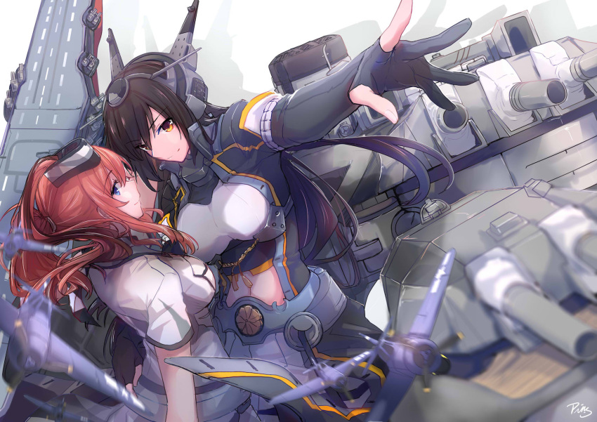 2girls aircraft airplane black_hair blue_eyes blush breast_pocket breasts brown_hair cannon commentary_request dress elbow_gloves flight_deck gloves hair_between_eyes hair_ornament headgear highres kantai_collection large_breasts long_hair looking_at_viewer multiple_girls nagato_(kantai_collection) neckerchief open_mouth partly_fingerless_gloves pin.s pocket ponytail remodel_(kantai_collection) rigging saratoga_(kantai_collection) side_ponytail sidelocks signature smile smokestack thigh-highs turret white_dress