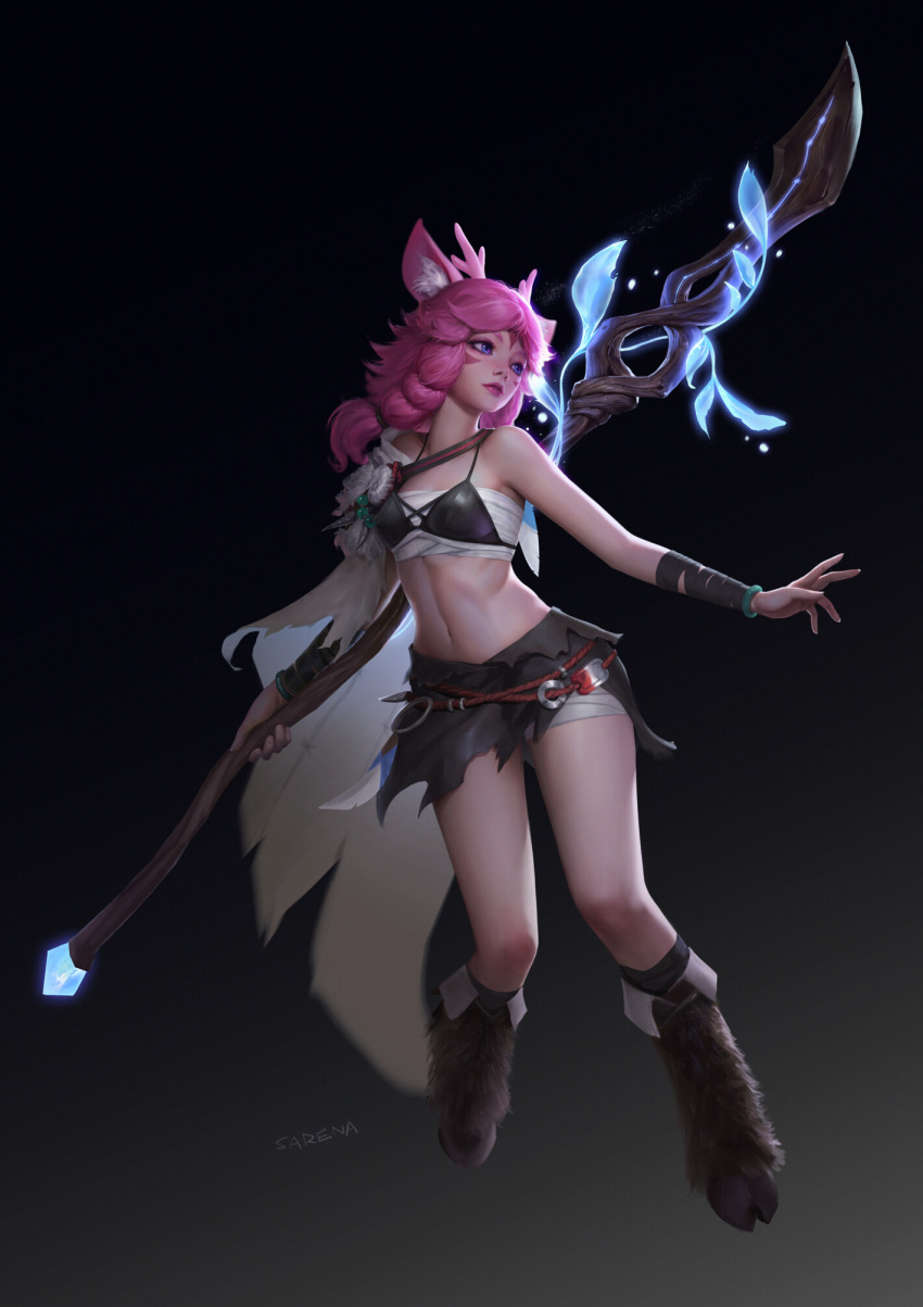 1girl animal_ears antlers bandaged_leg bandages bikini_top blue_eyes dark_background facial_mark gradient gradient_background highres holding holding_staff lips long_hair looking_at_another midriff navel parted_lips pink_hair rope_belt sarashi sarena signature skirt solo staff wangzhe_rongyao