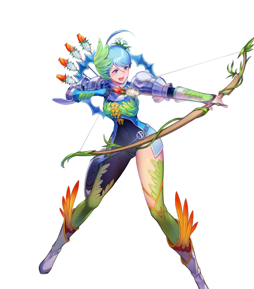 1girl ahoge armor arrow blue_eyes blue_hair boots bow bow_(weapon) bowtie earrings feathers fire_emblem fire_emblem_heroes flower full_body gen'ei_ibunroku_sharp_fe gloves hair_ornament highres jewelry kakage leaf official_art open_mouth quiver solo teeth thigh-highs transparent_background weapon yumizuru_eleanora