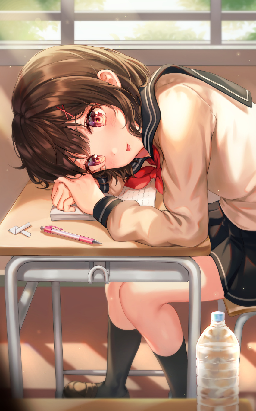 1girl absurdres black_hair black_legwear blush bottle chair classroom closed_mouth commentary_request desk eyebrows_visible_through_hair hair_ornament highres indoors kneehighs looking_at_viewer mechanical_pencil original pencil red_eyes school_uniform serafuku short_hair sitting smile solo tokkyu tongue tongue_out water_bottle x_hair_ornament