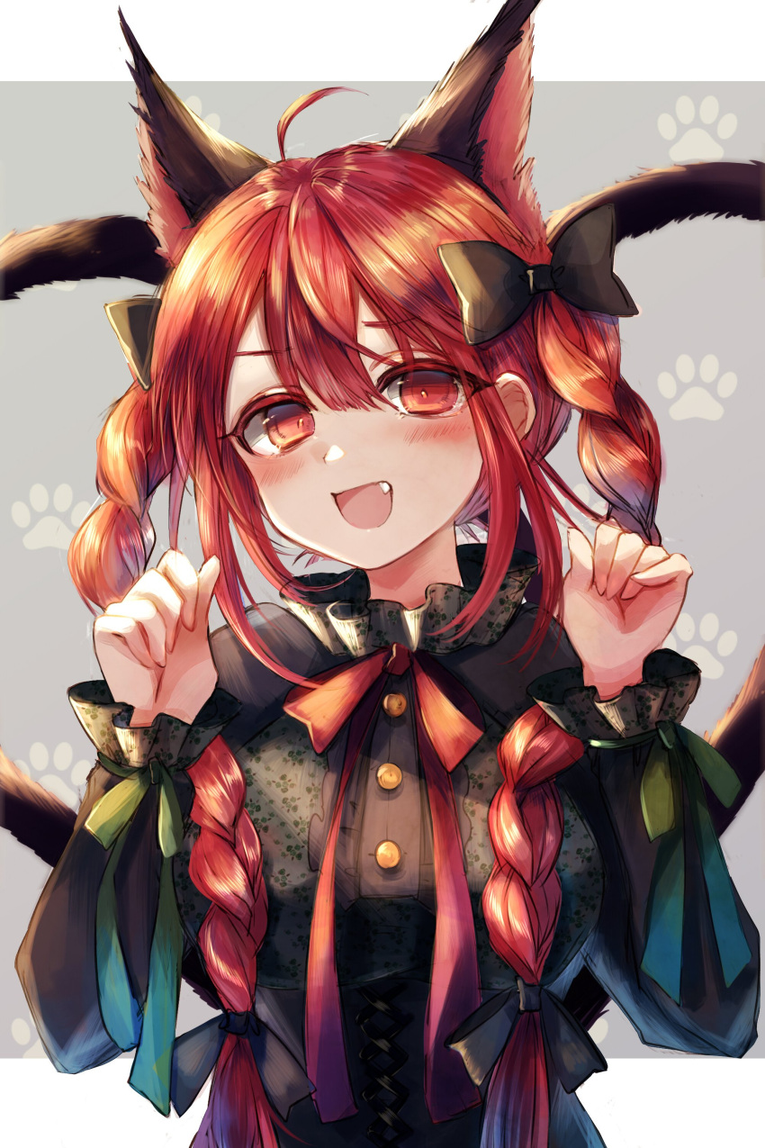 1girl :d absurdres ahoge animal_ears bangs black_bow black_dress blush bow braid cat_ears cat_tail commentary_request dress fang grey_background hair_between_eyes hair_bow hands_up highres kaenbyou_rin long_hair long_sleeves looking_at_viewer maho_moco multiple_tails neck_ribbon nekomata open_mouth paw_pose paw_print red_eyes red_neckwear red_ribbon redhead ribbon sidelocks smile solo tail touhou twin_braids twintails two_tails upper_body
