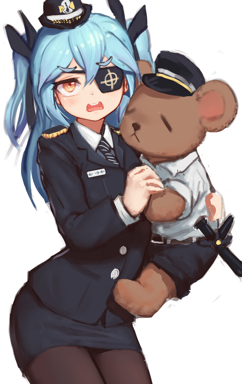 1girl absurdres black_eyepatch black_legwear blue_hair blush collared_shirt epaulettes female_service_cap formal greentree hair_ribbon highres last_origin long_hair lrl_(last_origin) miniskirt name_tag pantyhose pencil_skirt police police_uniform policewoman print_eyepatch ribbon shirt skirt skirt_suit stuffed_animal stuffed_toy suit teddy_bear two_side_up uniform white_shirt yellow_eyes