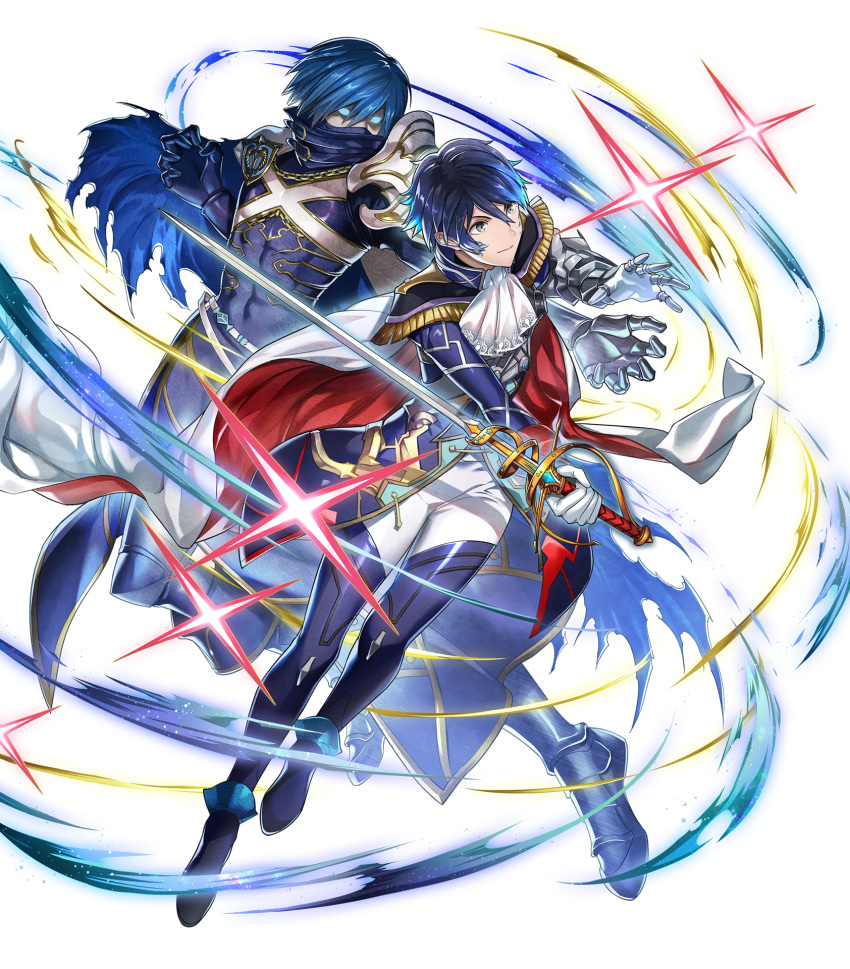 1boy aoi_itsuki armored_boots blue_eyes blue_hair boots cape chrom_(fire_emblem) epaulettes facial_mark fire_emblem fire_emblem_heroes full_body gen'ei_ibunroku_sharp_fe gloves highres mikurou_(nayuta) official_art sparkle sword transparent_background weapon