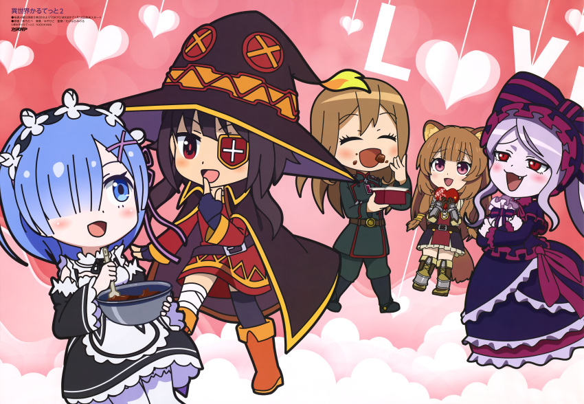 4girls absurdres animal_ears bandaged_leg bandages black_legwear blonde_hair blue_eyes blue_hair blush brown_hair chibi dress eyepatch gothic_lolita grey_hair highres isekai_quartet kono_subarashii_sekai_ni_shukufuku_wo! lolita_fashion long_hair looking_at_viewer maid megumin multiple_girls official_art open_mouth overlord_(maruyama) raccoon_ears raccoon_girl raphtalia re:zero_kara_hajimeru_isekai_seikatsu rem_(re:zero) shalltear_bloodfallen smile tail tate_no_yuusha_no_nariagari thigh-highs valentine viktoriya_ivanovna_serebryakov youjo_senki