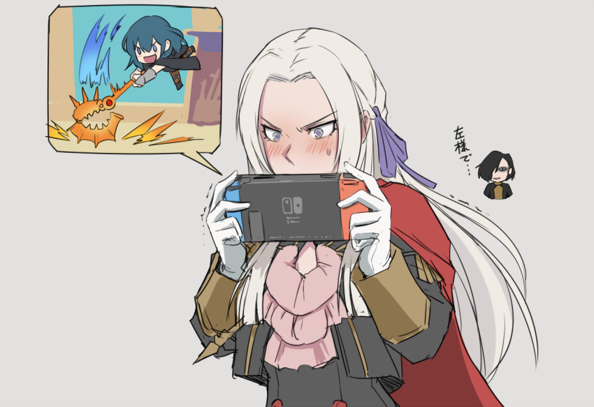 1boy 2girls axe black_cape black_footwear black_hair blue_eyes blue_hair blush byleth_(fire_emblem) byleth_(fire_emblem)_(female) cape chibi commentary_request cravat edelgard_von_hresvelg fire_emblem fire_emblem:_three_houses garreg_mach_monastery_uniform gauntlets gloves grey_background hair_ornament hair_over_one_eye hubert_von_vestra long_hair mikoyan multiple_girls nintendo_switch open_mouth pantyhose playing_games red_cape short_hair simple_background smile super_smash_bros. sweatdrop translated very_long_hair weapon white_gloves white_hair